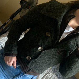 Soia & Kyo cropped green tweed wool peacoat